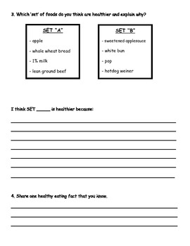 Healthy Eating Assessment for Junior Grade Students