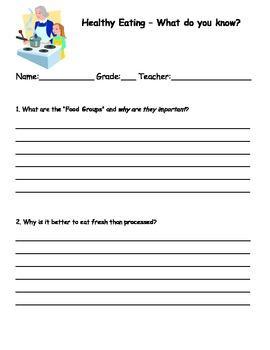 Healthy Eating Assessment for Junior Grade Students