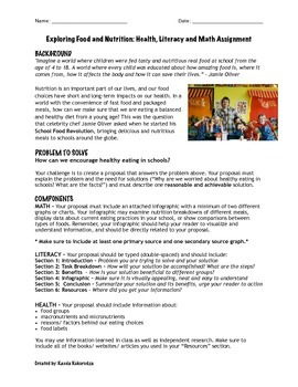 Healthy Eating Assignment: Integrated Math, Literacy and Health