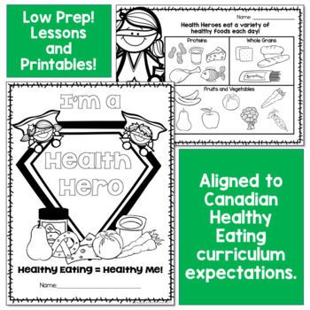 BUNDLED Healthy Eating Unit with Rubric and Lessons - Canadian Grade 3 or 2/3