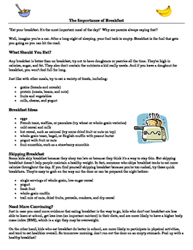 Healthy Eating Food Diary Activity and Reflection Questions