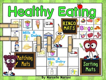 Healthy Eating Food Group Sorting Center Mats, Group Activity and Bingo