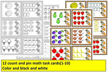 Healthy Eating Math Centers- More than-Less than + Count and Pin