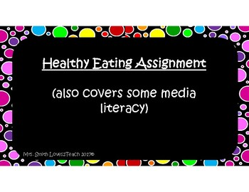 Healthy Eating/Media Literacy Assignment