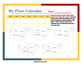 Healthy Eating: My Plate Calendar