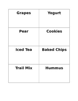 Healthy Food Cards: Nutrition Games + Ideas for Students with Special Needs SPED
