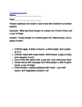 Healthy Food Choices Activity