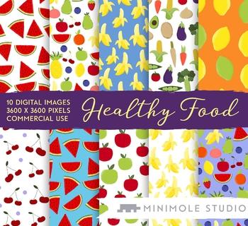 Healthy Food Pattern Digital Paper, Fruit, Vegetables, Commercial Use