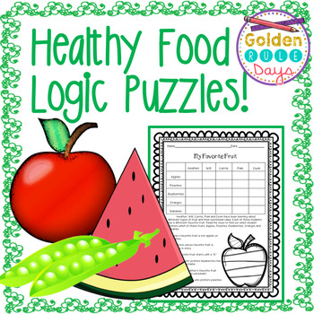 Nutrition Healthy Food Themed Logic Puzzles! Critical Thin