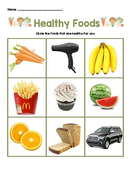 Healthy Foods Adapted Activity