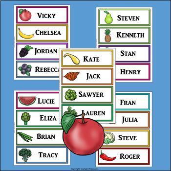 Healthy Foods Name Tags - Editable
