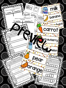 Healthy Foods Sort and Write the Room Bundle