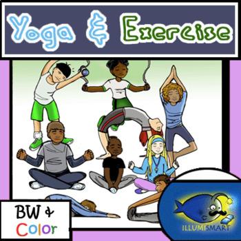 Healthy Habits Clip-Art Bundle! 150+ Clip-Art pieces!  Yoga, Health, and more!