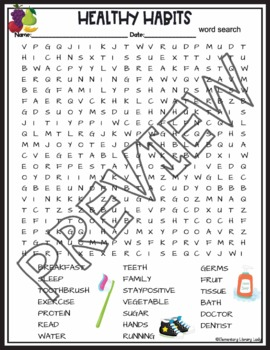 Healthy Habits Crossword and Word Search Find Activities