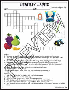 Healthy Habits Activities Crossword Puzzle and Word Search Find