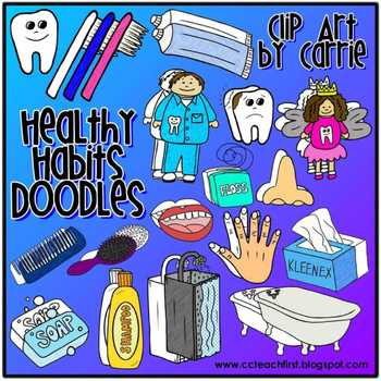 Healthy Habits Doodles digital clip art (BW & full-color PNG files)