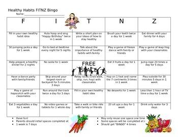 Healthy Habits FITNZ Bingo