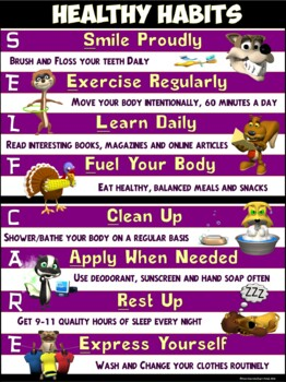 Healthy Habits Poster: Self Care and Hygiene