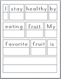 Healthy Habits: Sentence Prompts (3) with rubric (differentiated versions)