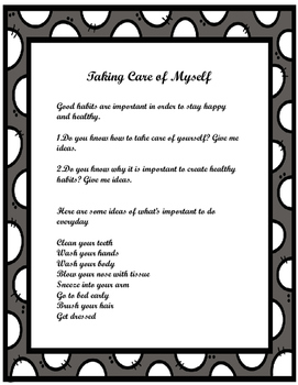 Taking Care of Myself- Healthy Habits- Social Story