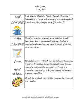 Healthy Habits Think Tank- Project Based Learning (PBL)