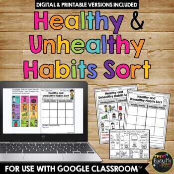 Healthy Habits and Unhealthy Habits Sort Worksheet Activity