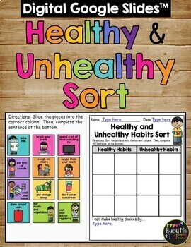 Healthy Habits and Unhealthy Habits Sort Worksheet Activity