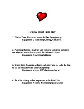 Healthy Heart Field Day Stations