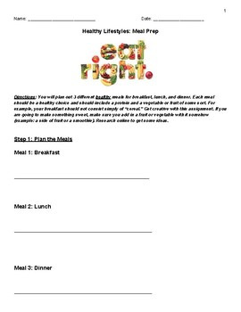 Healthy Lifestyles Meal Planning Activity