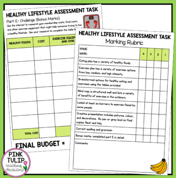 Healthy Lifestyle Assessment Task, Healthy Eating and Exercise