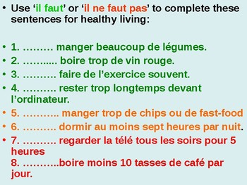"""Healthy Lifestyle / How to be healthy / Using """"il faut"""""""