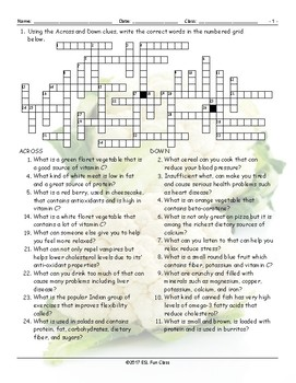 Healthy Lifestyle-Nutrition Crossword Puzzle