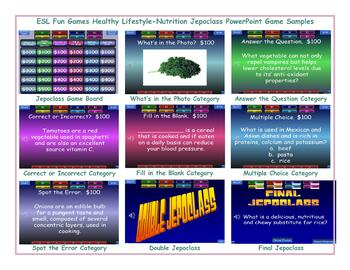 Healthy Lifestyle-Nutrition Jeopardy PowerPoint Game Slideshow