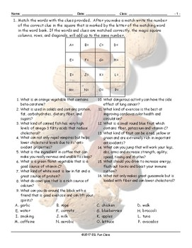 Healthy Lifestyle-Nutrition Magic Square Worksheet