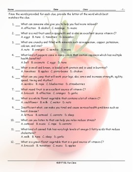 Healthy Lifestyle-Nutrition Multiple Choice Worksheet