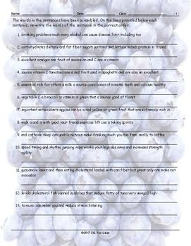 Healthy Lifestyle-Nutrition Scrambled Sentences Worksheet