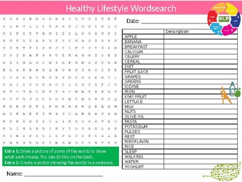 Healthy Lifestyle Wordsearch Puzzle Sheet Keywords Eating Food Science Nutrition