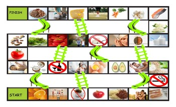 Healthy Lifestyle and Nutrition Legal Size Photo Chutes and Ladders Game