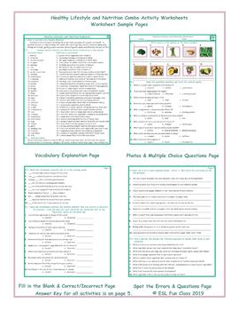 Healthy Lifestyle and Nutrition Combo Activity Worksheets