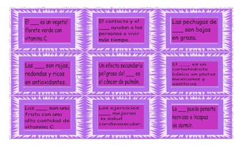 Healthy Lifestyle and Nutrition Spanish Card Game