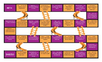 Healthy Lifestyle and Nutrition Spanish Slides and Stairs Board Game