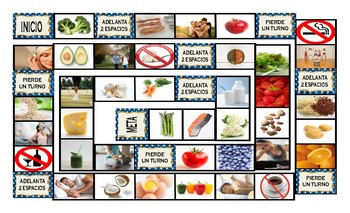 Healthy Lifestyle and Nutrition Spanish Legal Size Photo Board Game