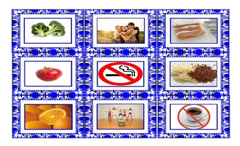 Healthy Lifestyle and Nutrition Spanish Legal Size Photo Card Game