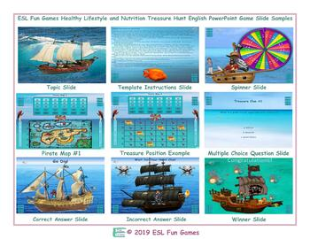Healthy Lifestyle and Nutrition Treasure Hunt Interactive English Game