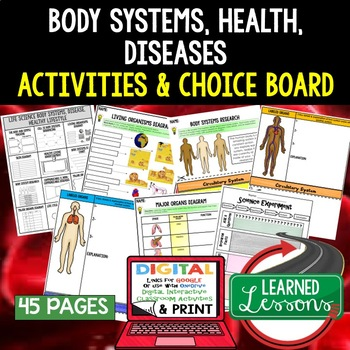 Healthy Lifestyles & Body Systems Choice Board Activities with Google Link