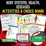 Body Systems Activities, Choice Board, Print & Digital