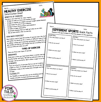 Healthy Living - Learning Activity Pack
