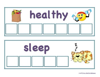 Healthy Me Letter Tile Picture Cards