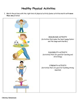 Healthy Physical Activities Worksheet