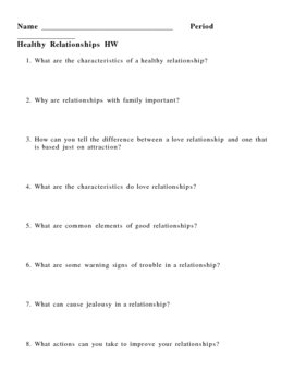Healthy Relationships Homework